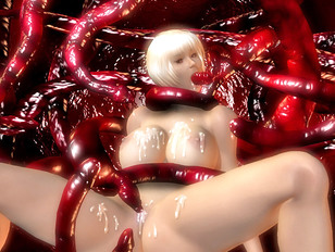 Blonde teen fucked with tentacles in hellhentai