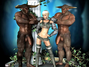 Gorgeous blonde forced into a threesome with minotaurs