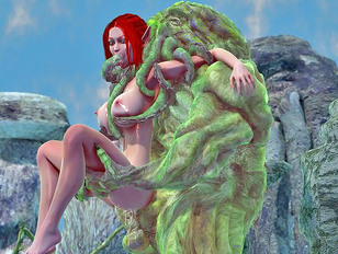 Horny monster drills the busts of two gorgeous girls