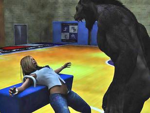 Cheerleader hottie fucked in the gym by a werewolf