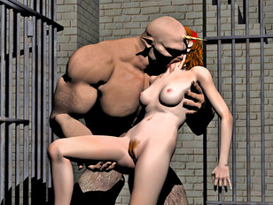 Ripped demon cages and abuses a busty girl