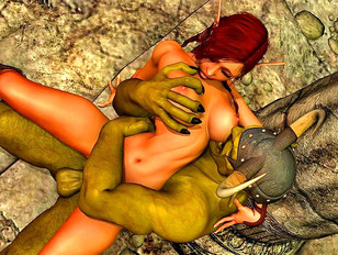 Orc warrior gets a young elf girl as a war trophy