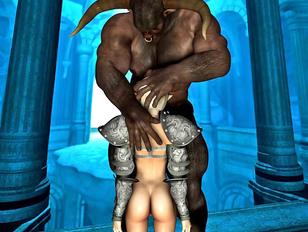 Horny minotaur gets a nice blowjob