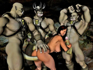 Lovely elf babes fucked by 3d monsters with huge dicks