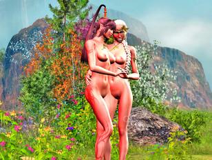Sexy little elven lesbians fucking outdoors