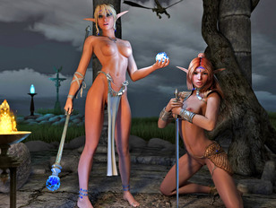 Kinky space babes in double edged sexual games