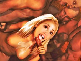 Whore loves sucking of horny demons