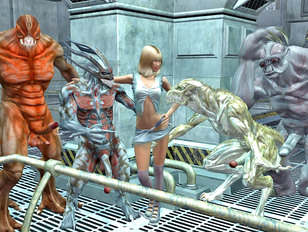 3D threesome, orgy, tentacle monster, alien sex scenes