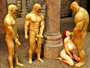 Sexy barbarian girl forced to suck three troll cocks