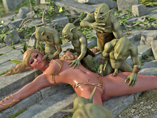 Gorgeous elven girls forced into sex with monsters