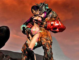 Infernal demon warrior raping busty hot 3D babe