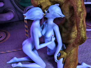Two lusty blue alien babes in a hot threesome