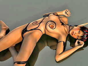 Black tentacle monster probes hot girl's holes
