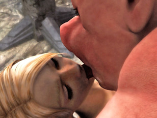 Busty blonde getting raped by two violent giants