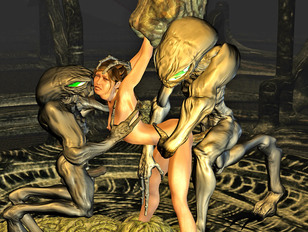 Abducted 3D babe getting raped by two aliens