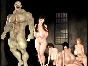 3d evil sex between muscled man and fat milfs
