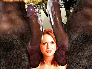 Horny babe takes on two ugly monsters' cocks