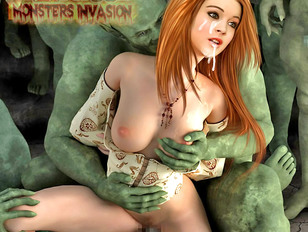 Sexy 3D girl fucked hardb by horny monsters