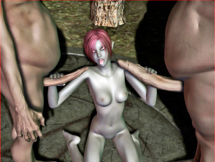 Three kinky elven babes torturing a naked slave