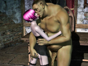 Hot elven babe making out with a horny giant