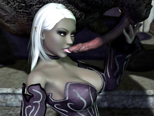 Elf babes fucked by monsters and used as gagging whores