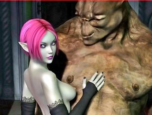 Slutty elven girl sucks a big troll off