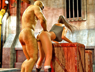 Sexy tomb raider drilled with two demon cocks