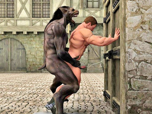 Ripped werewolf captures and rapes a guy