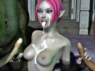 Elf babe had to suck and fuck huge monsters' dicks