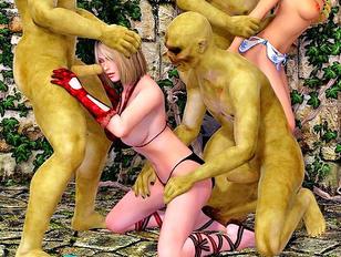 Slave girls get brutally gangbanged by orcs