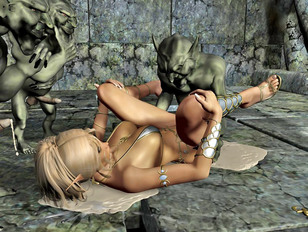 Hot blonde gets mercilessly fucked and creamed by goblins