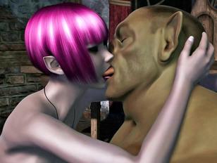 Horny elf lets her troll lover fuck her hard