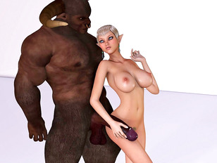 Tiny little babe gets her holes destroyed with minotaur cocks