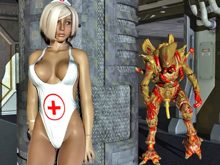Alien invader fucks a hot spaceship nurse