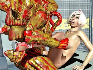 Horny alien nailing his busty sexy nurse slave