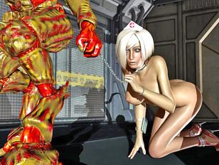 Alien monster brutally rapes a hot nurse