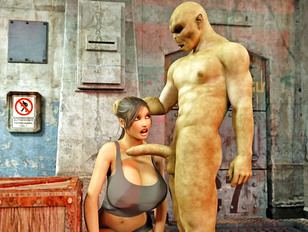 Horny monster pounding a hottie from behind