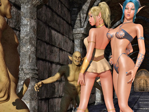 Two babes ambushed by a couple of horny orcs