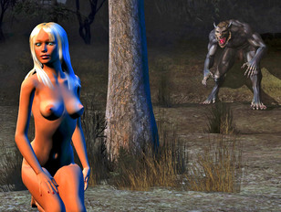 Horny werewolf fucks a hottie in the forest