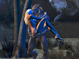 Hottie ambushed and raped by a horny werewolf