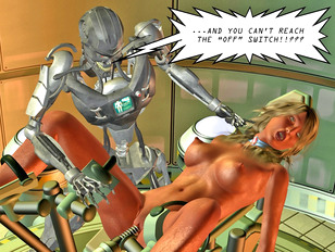 Hot blonde fucked by crazy scientist's robot
