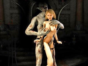 Foul creature fucks a hot elf girl from behind