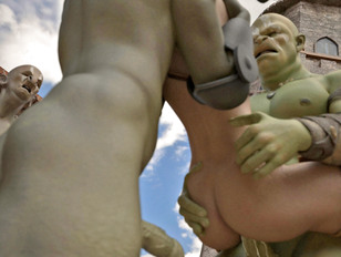 Brave girl tries to fight off horny orcs
