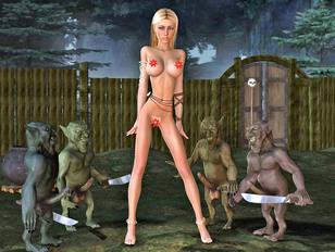 Goblin rapists gangbang a sexy blonde
