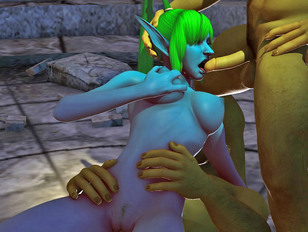 Hot 3d animated porn threesome with elf babe