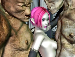 Horny cave trolls double teaming a petite elf