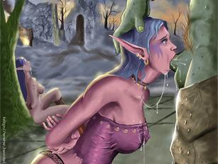 Pretty elf forced to swallow monster's jizz