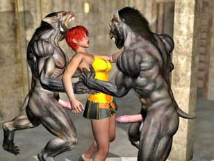 Horny werewolves go crazy for fresh human pussy