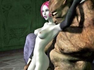 Horny girl sucks and fucks a bunch of goblins