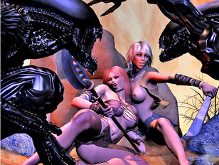 Fertile girls impregnated by slimy green aliens